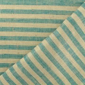 Tissu torchon lin Rayures - jade/taupe x 10cm