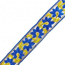 Guipure thermocollante Fleur d'Inde 45 mm - bleu/doré x 50cm