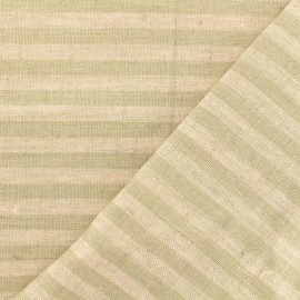 Tissu torchon lin Rayures - rose/taupe x 10cm