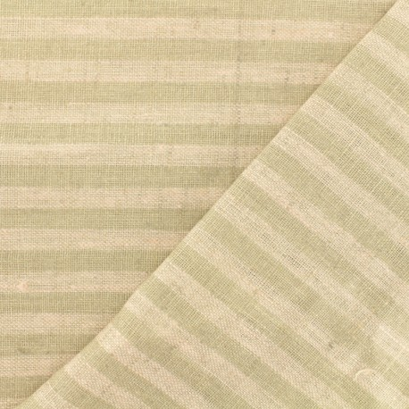Tissu torchon lin Rayures - rose/taupe