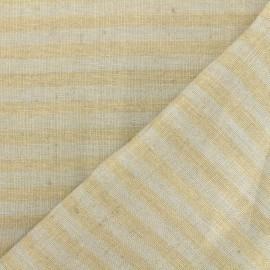 Linen Stripes cloth fabric - grey/taupe x 10cm
