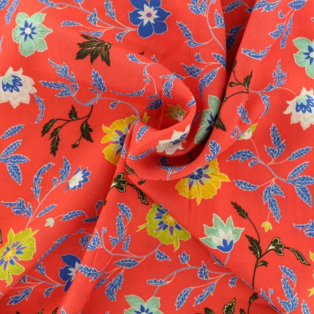 Tissu viscose Durga - rouge x 10 cm