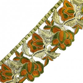 85 mm Patna iron-on guipure lace - khaki/gold x 50cm