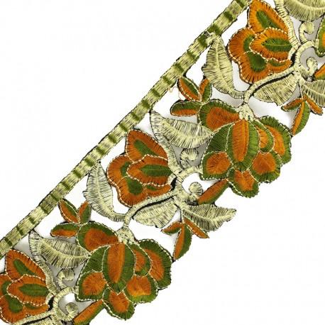 Guipure thermocollante India Patna 85 mm - kaki/doré x 50cm