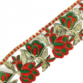 85 mm Patna iron-on guipure lace - red/gold x 50cm
