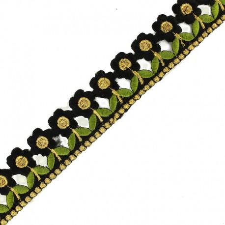 35 mm Little Paradise iron-on guipure lace - black x 50cm