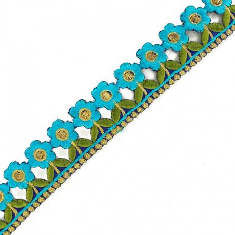 35 mm Little Paradise iron-on guipure lace - blue x 50cm