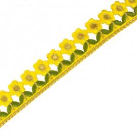 Guipure thermocollante India Little Paradise 35 mm - jaune x 50cm