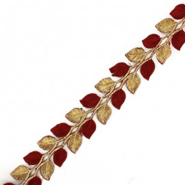 35 mm India Leaf iron-on trim - gold/red x 50cm