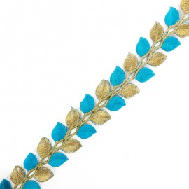 35 mm Leaf iron-on India trim - gold/blue x 50cm
