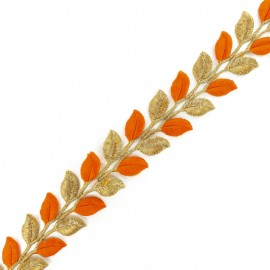 Galon India thermocollant Leaf bicolore - doré/orange x 50cm