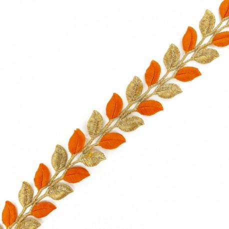 35 mm Leaf iron-on India trim - gold/orange x 50cm