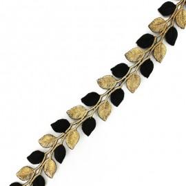 Galon India thermocollant Leaf bicolore - doré/noir x 50cm
