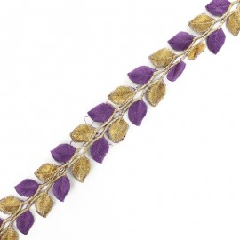 35 mm Leaf iron-on India trim - gold/purple x 50cm