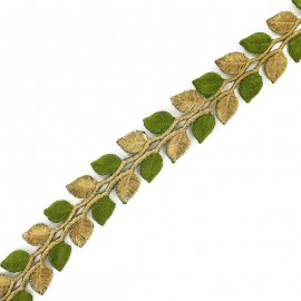 35 mm Leaf iron-on India trim - gold/olive green x 50cm