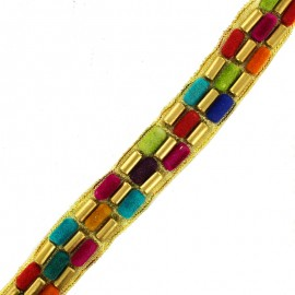25 mm tube bead A India trim - multi x 50cm