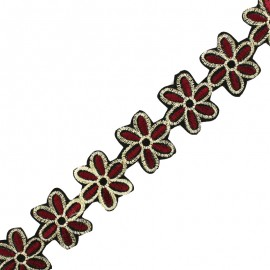 35 mm Basic Daisy iron-on India trim - burgundy x 50cm