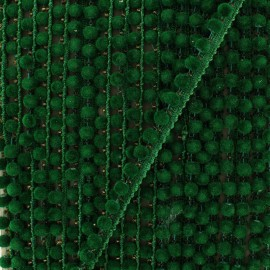 6 mm hardshell pompom India trim - pine green x 50cm