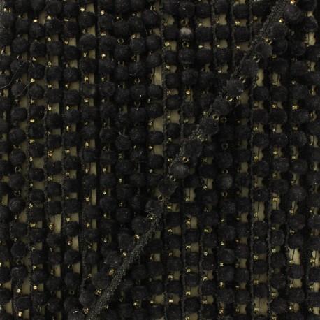 6 mm hardshell pompom India trim - black x 50cm