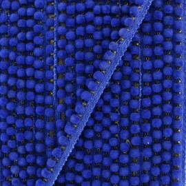 Galon pompon India hardshell 6 mm - bleu roi x 50cm
