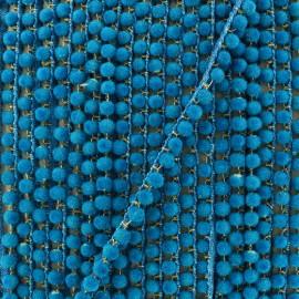 6 mm hardshell pompom India trim - curaçao blue x 50cm