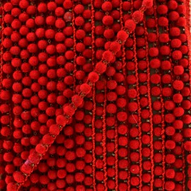 Galon pompon India hardshell 6 mm - rouge x 50cm