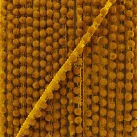 6 mm hardshell pompom India trim - ocher x 50cm