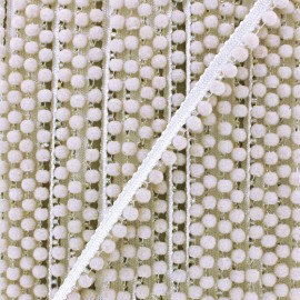 6 mm hardshell pompom India trim - white pearl x 50cm