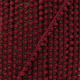 6 mm hardshell pompom India trim - burgundy x 50cm