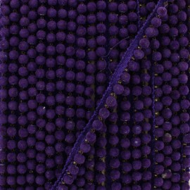 6 mm hardshell pompom India trim - purple x 50cm