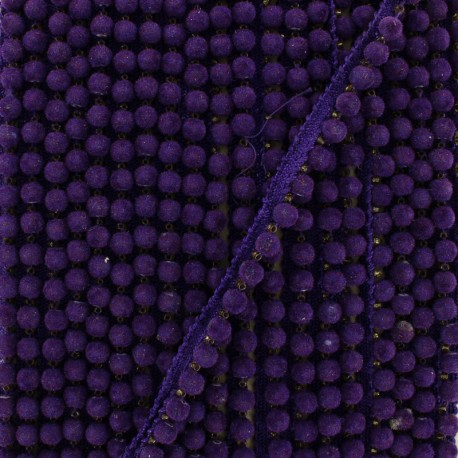 6 mm hardshell pompom India trim - purple x 50cm