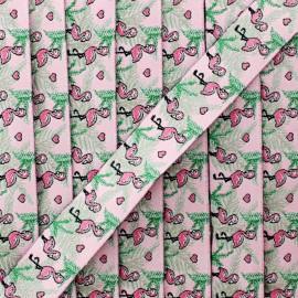 20 mm flamingos jacquard ribbon - pink x 1m
