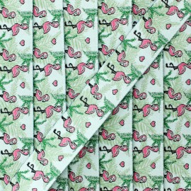 20 mm flamingos jacquard ribbon - green x 1m