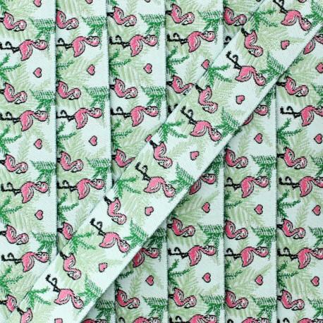 20 mm flamingos jacquard ribbon - green x 1m