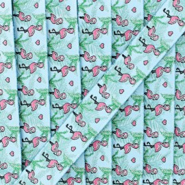 20 mm flamingos jacquard ribbon - sky blue x 1m