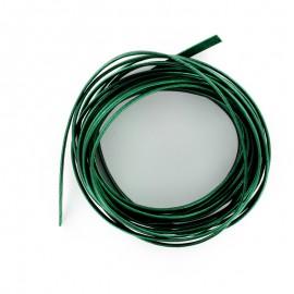 Lacet cuir plat laminé métallisé 3 mm - vert émeraude x 50cm
