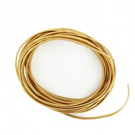 Lacet cuir plat laminé métallisé 3 mm - doré x 50cm