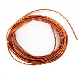 Lacet cuir plat laminé métallisé 3 mm - orange x 50cm