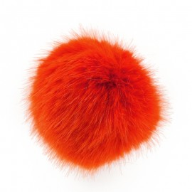 Giant round-shaped faux fur pompom - orange