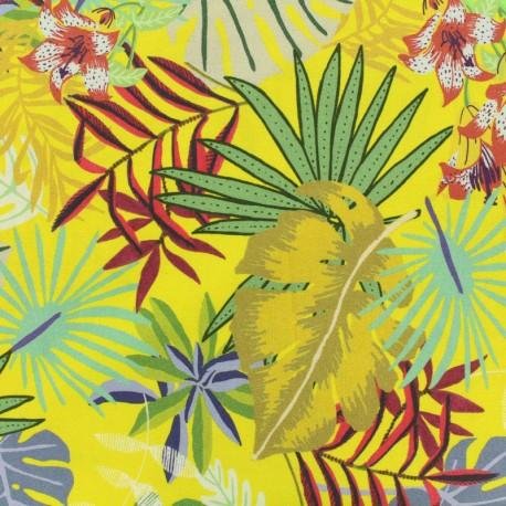 Tissu viscose Hawaiian Summer - jaune citron x 10 cm