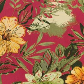 Peonies & Hibiscus viscose fabric - cranberry x 10 cm