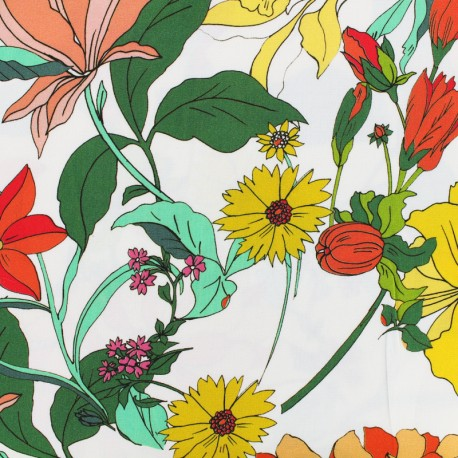 Flowerlight viscose fabric - white x 10 cm