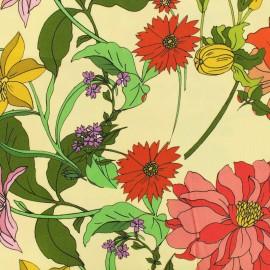 Tissu viscose Flowerlight - beige x 10 cm