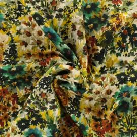Tissu viscose Impressionnisme d'automne - ocre x 50 cm