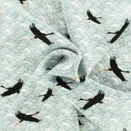 Tissu viscose Grue voyageuse - blanc x 10 cm