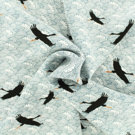 Grue voyageuse viscose fabric - white x 10 cm
