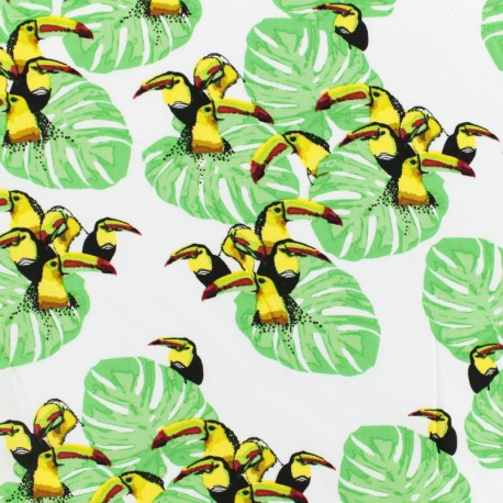Îles des toucans viscose fabric - white x 10 cm