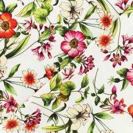 Herbier de printemps gabardine fabric - white x 10 cm