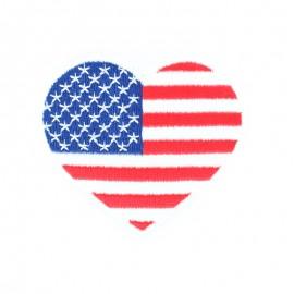 Coeur d'Amérique iron-on - red/blue