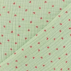 Double gauze fabric Oeko-tex Poppy Little hearts - Seagreen x 10cm